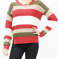 Colorful stripe loose fit knitted crew neck sweater