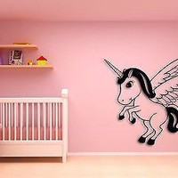 Wall Sticker For Kids Baby Unicorn With Wings Cool Decor for Nursery Room Unique Gift z1406