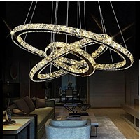 Contemporary Modern Crystal 3 Rings Chandelier