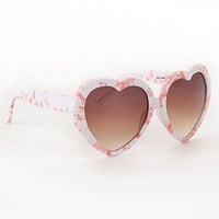 With Love From CA Printed Plastic Heart Sunglasses at PacSun.com