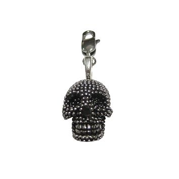 Black and Silver Toned Textured Skull Head Pendant Zipper Pull Charm