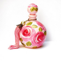 Pink Glass Perfume Bottle Hand Painted Roses Romantic Victorian Decor FREE SHIPPING