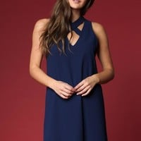 Criss Cross Neckline Shift Dress - Navy