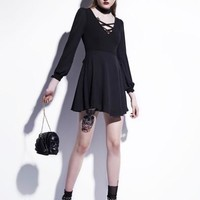 Black Lace up Lantern Sleeve Women's Day Dress
