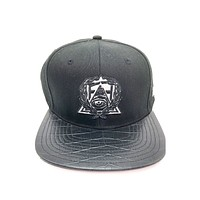 Secret Society Gray Eye Logo Snakeskin Brim Strapback Hat Black Gray