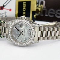 Rolex Datejust President Gold Mother of Pearl Diamond 179159 Diamond Bezel & Lug