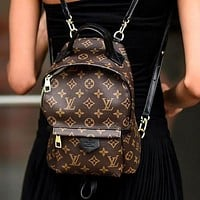 LV Louis Vuitton Women Casual School Bag Cowhide Leather Backpack 1
