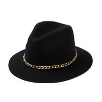 Women'S Wool Black / Burgundy / Red Fedora Hat With Gold Chain