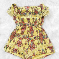 Lynn Off The Shoulder Print Romper (Yellow)