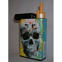 Cigarette Case Skull Head with Built on Lighter Holder