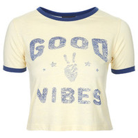 Good Vibes Cropped Tee - Yellow