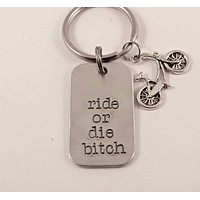 """""""Ride or die bitch"""" Hand Stamped Keychain - Great gift for the biking enthusiast"""