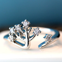 Fairytail Tree Ring Adjustable Open Ring Silver Plated Jewelry gift idea Free size