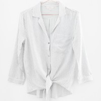 Striped Front Knot Button-Up