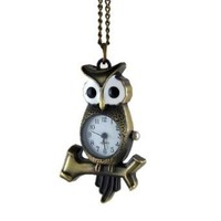 Perching Owl Long Clock Necklace Vintage Style Watch