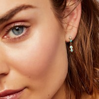 Free People 14k Light Ray Sapphire Turquoise Earrings