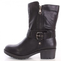 Black Buckled Strap Combat Boots Faux Leather