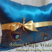 Hand painted Blue Satin Kneeling Pillow peacock feathers in gold blue and turquoise personalized quinceanera pillow, ceremony  prayer pillow