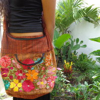 Cotton Sling Hobo Crossbody Bag Embroidered Burnt Orange Stripes Hippie Bag Womens Purse Large Gypsy Purse Handcrafted Boho Mexican