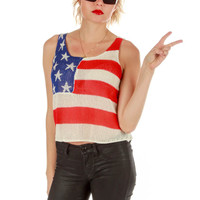 Knit American Flag Crop Top