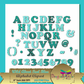 """50% OFF Sale WILD About Light Teal Alphabet, 5""""  Digital Scrapbooking, Instant Download, Printable, Commercial use,Patterns"""