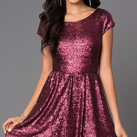 Short Scoop Neck Sequin Cap Sleeve Dress 1733