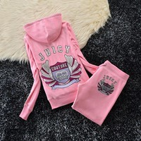 Juicy Couture Studded Crown With Wings Velour Tracksuit 6130 2pcs Women Suits Pink