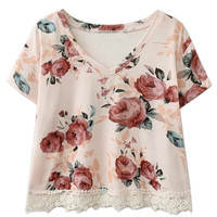 Pink Floral V-neck Lace Short Sleeve Cropped T-shirt