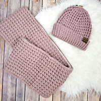 Sherpa-Lined Scarf and Hat Set - Dusty Rose