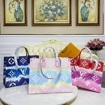 LV Women's Canvas Printed Letter Splicing Two-Piece Tote Bag Shoulder Bag