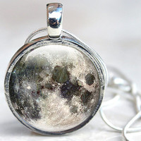 Full Moon Necklace Pendant Glass Dome, Space themed Jewellery with Silver Chain
