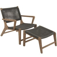 Comfortable Wood Rope Outdoor Chair With Footrest Set