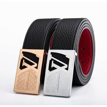 Louis Vuitton LV Newest Trending Men Smooth Buckle Leather Belt