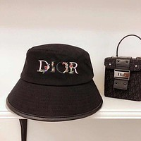 Dior women's embroidered letter fisherman hat