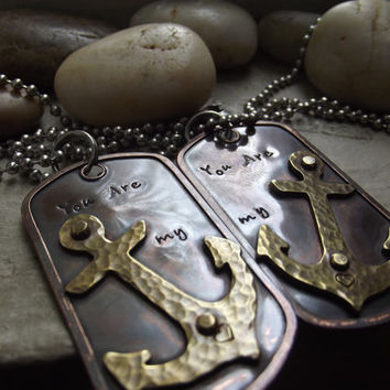 You are my Anchor, Couples dog tags, Ready to ship