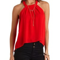 Lace-Back Chiffon Halter Top by Charlotte Russe - Red