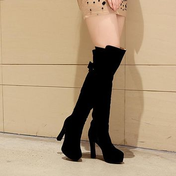 Women Slim Zipper Buckle Platform Over the Knee Boots Chunky Heel 5182