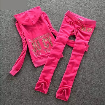 Printing hot drilling velvet cap two woolly sweater casual clothes Velvet sprots suit Roses