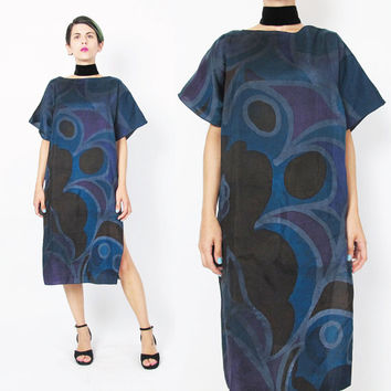 1980s Abstract Tunic Dress Artsy Abstract Print Dress Multi Color Black Blue Purple Draped Slouchy Dress Modern Pullover Short Sleeve (M)