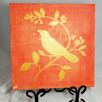 Bird Painting, Canvas Bird Sign, Bird Home Decoration, Wall Art, Bird Silhouette, Home Decor, Gift Idea, Square Canvas, Gold Orange