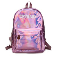 Harajuku Embroidery Letters Crybaby Hologram Laser Backpack Women Soft PU Leather Backpack School Bags For Girls nbxq194