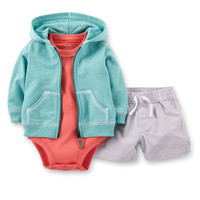 Little Surfer 3-Piece Cardigan & Short Set