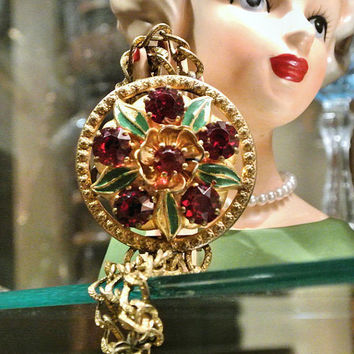 Czech Bracelet Art Deco Rhinestone Bracelet Glass Huge Enamel Brass Textured Chain Ruby Red Flowers Floral Medallion Chunky Circa 1920s