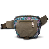 Women Outdoor Leisure Canvas Print Floral Waist Bag Crossbody Bag