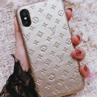 LV Bright leather phone shell iPhoneX78plus / 6s shatter-resistant shell female protective sleeve