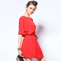 Solid Color Round Neck Short Sleeve Mini Dress with Pocket