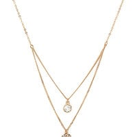 FOREVER 21 Layered Rhinestone Heart Necklace Gold/Clear One