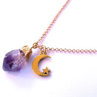 Gold Dipped Amethyst Moon Star Nugget Geode Crystal Necklace Adjustable Chain Raw Rough Natural Purple Quartz Stone Charm Pendant Choker