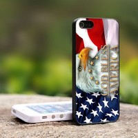 God Bless America Flag Eagle - For iPhone 4,4S Black Case Cover