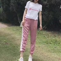 """Champion"" Women Sweet Casual Fashion Letter Embroidery Short Sleeve T-shirt Trousers Set Two-Piece Sportswear"